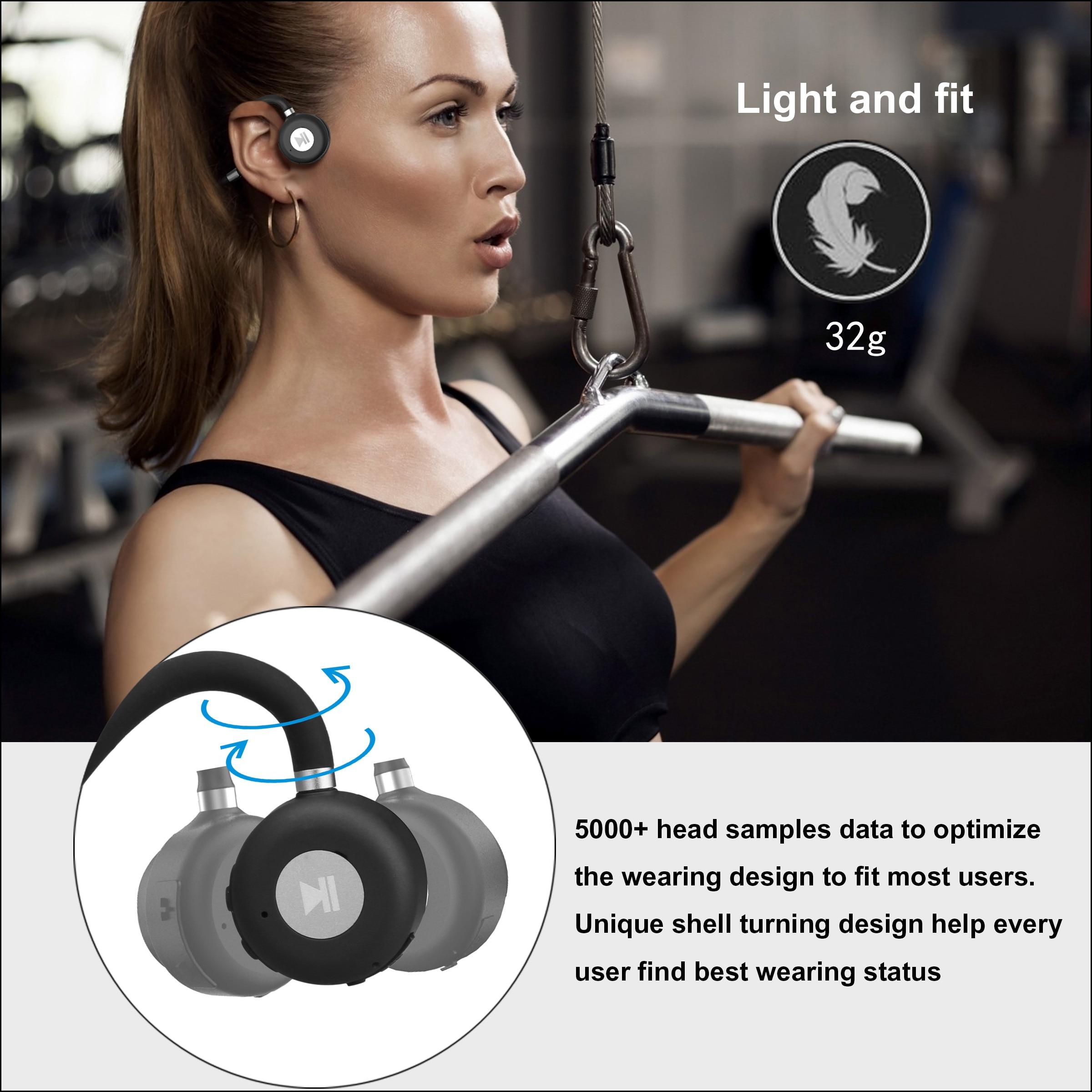 HUHD Bone Conduction Earbuds Wireless Headphone BT 5.0 Titanium Open Ear Wireless Sports Headset Handsfree Headsets Lightweight enlarge