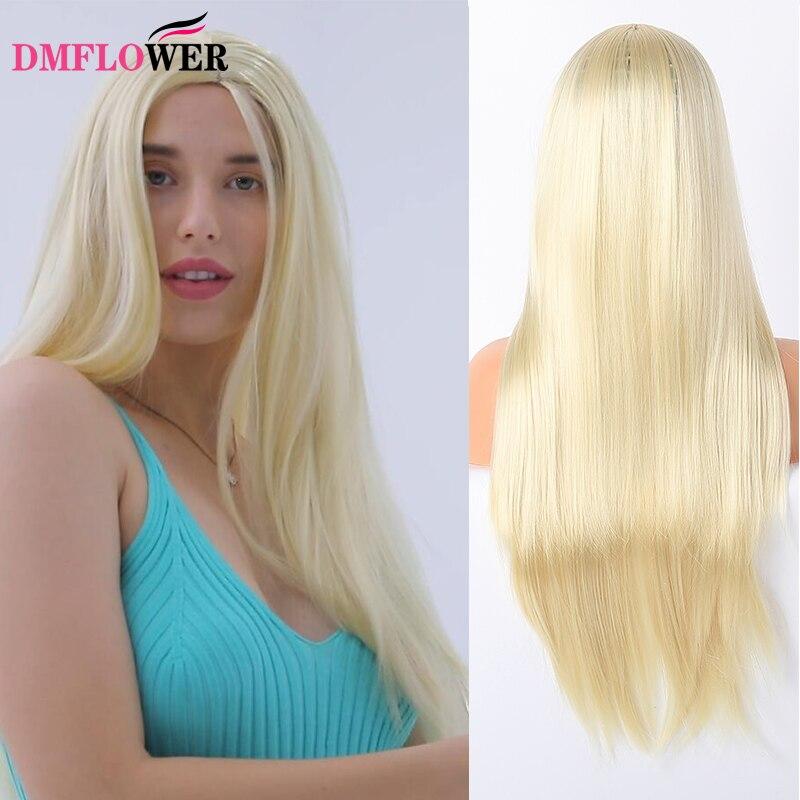 DMFLOWER-الشعر الاصطناعية الدانتيل شعر مستعار أمامي السيدات طويل مستقيم أشقر النبيذ شعر أحمر براون الجذر مقاومة للحرارة الألياف