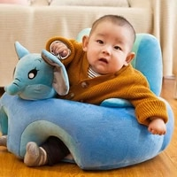 cute cartoon baby sofa cover plush chair kids baby learning to sit seat feeding chair case washable toddler nest without filler