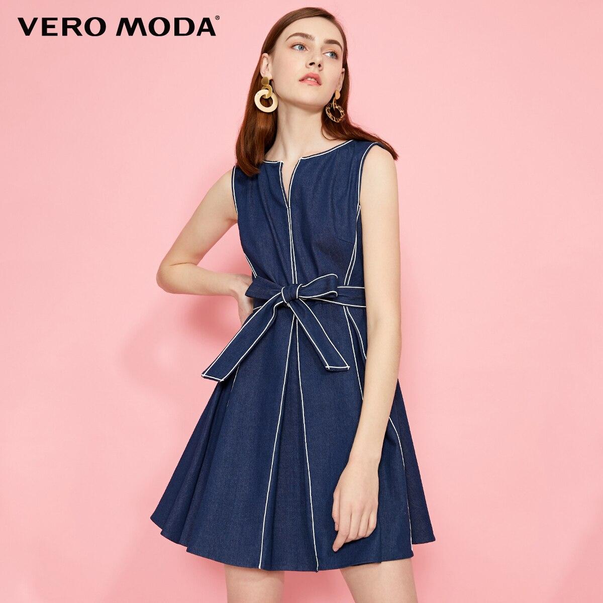 Vero Moda Women's V-neckline Pleated Sleeveless Denim Dress   319242511