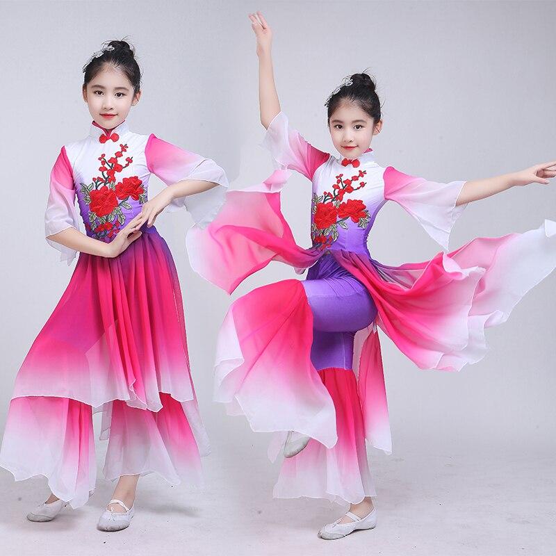 Детские Классические танцевальные костюмы Янко, новый стиль, в китайском стиле, элегантный фанатский танцевальный набор для девочек