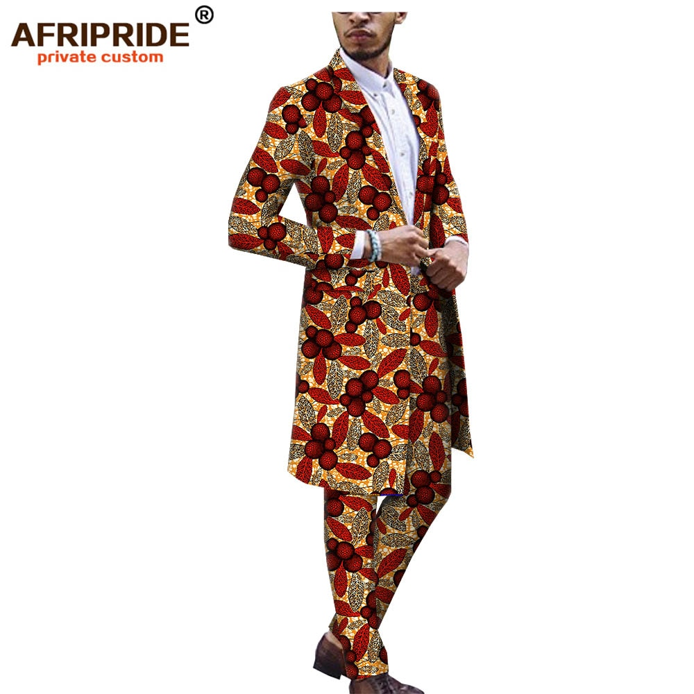 african ankara dashiki suit for men AFRIPRIDE tailor made bazin richi single button long jacket+full length pants A1816012