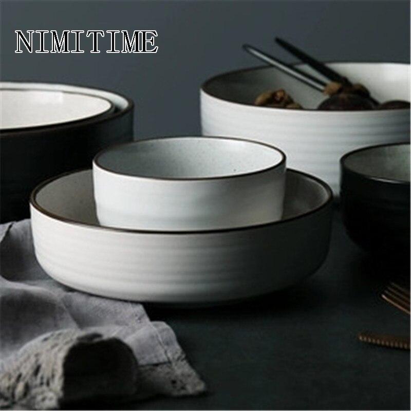 NIMITIME, cuencos de cerámica para sopa de arroz para el hogar, vajilla de porcelana, vajilla, artículos de mesa redondos de Color blanco y negro, plato PARA CENA