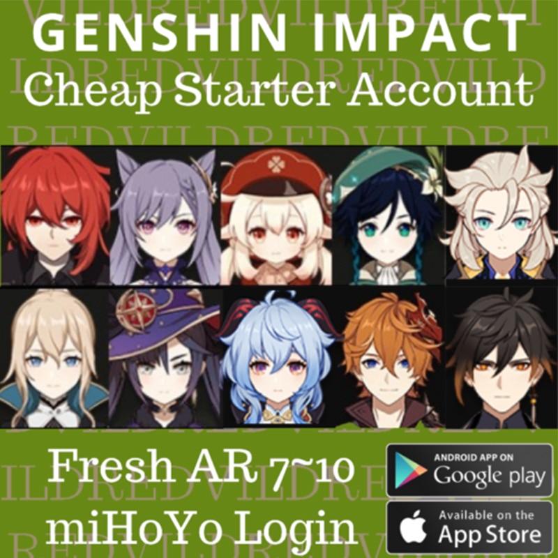 America/Europe Genshin Impact Account Single Dual 5 Star Starter Account Keqing Diluc QiQi Venti Mona Zhongli Hutao Xiao AR 5-10