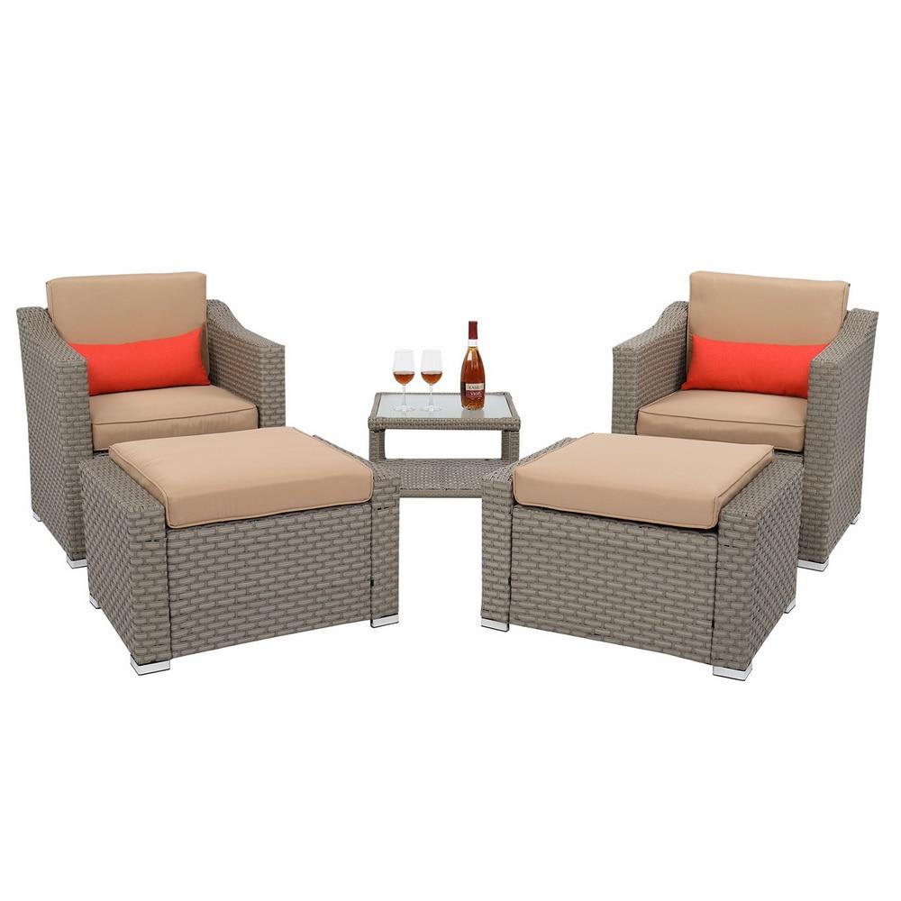 5Pcs Outdoor Patio Furniture Set Suit Include 2 Double Contiguous Single Sofa...