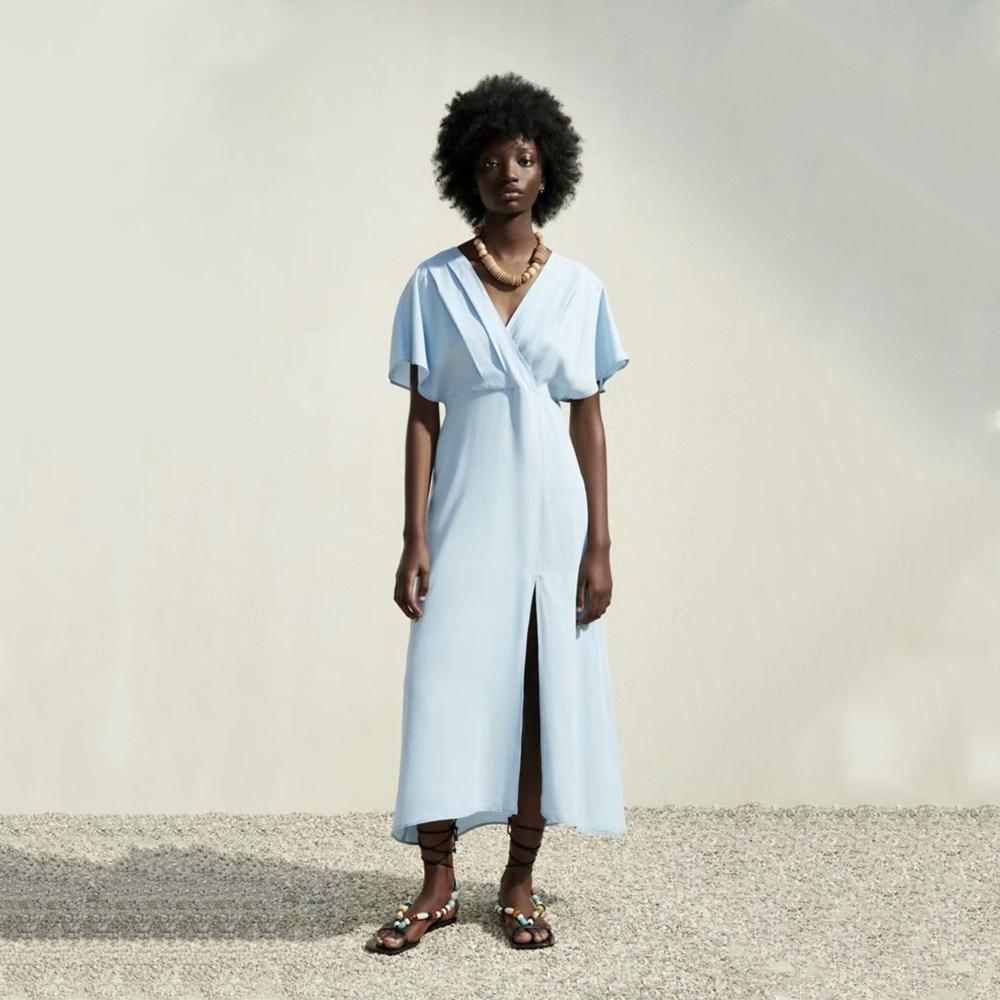2021 ZA صيف جديد ملابس نسائية موضة عمودي أزرق كم قصير فستان ميدي RA 3202747 2/747