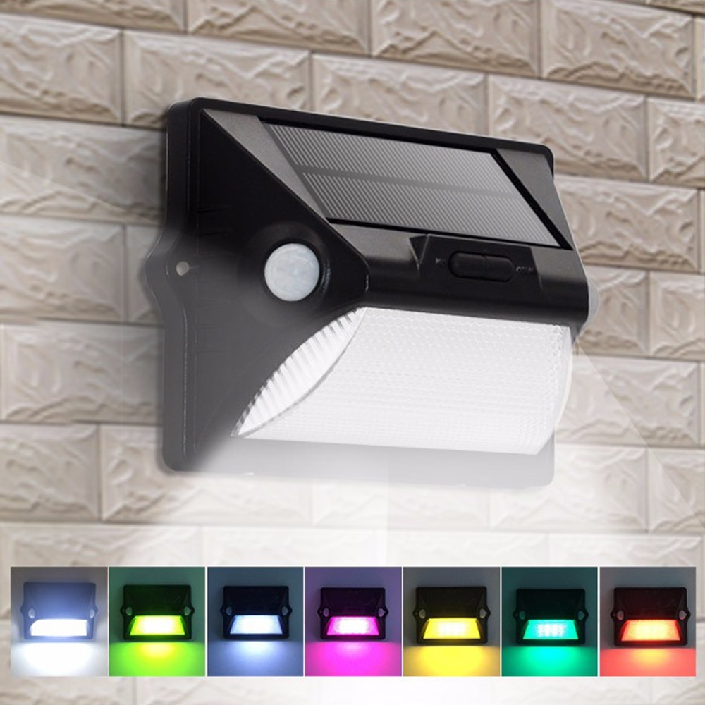 Outdoor Solar Lights PIR Motion Sensor LED Wall Lamp Double PIR Inductor 7 Color Changes 3Modes Garden Decoration/Security Light