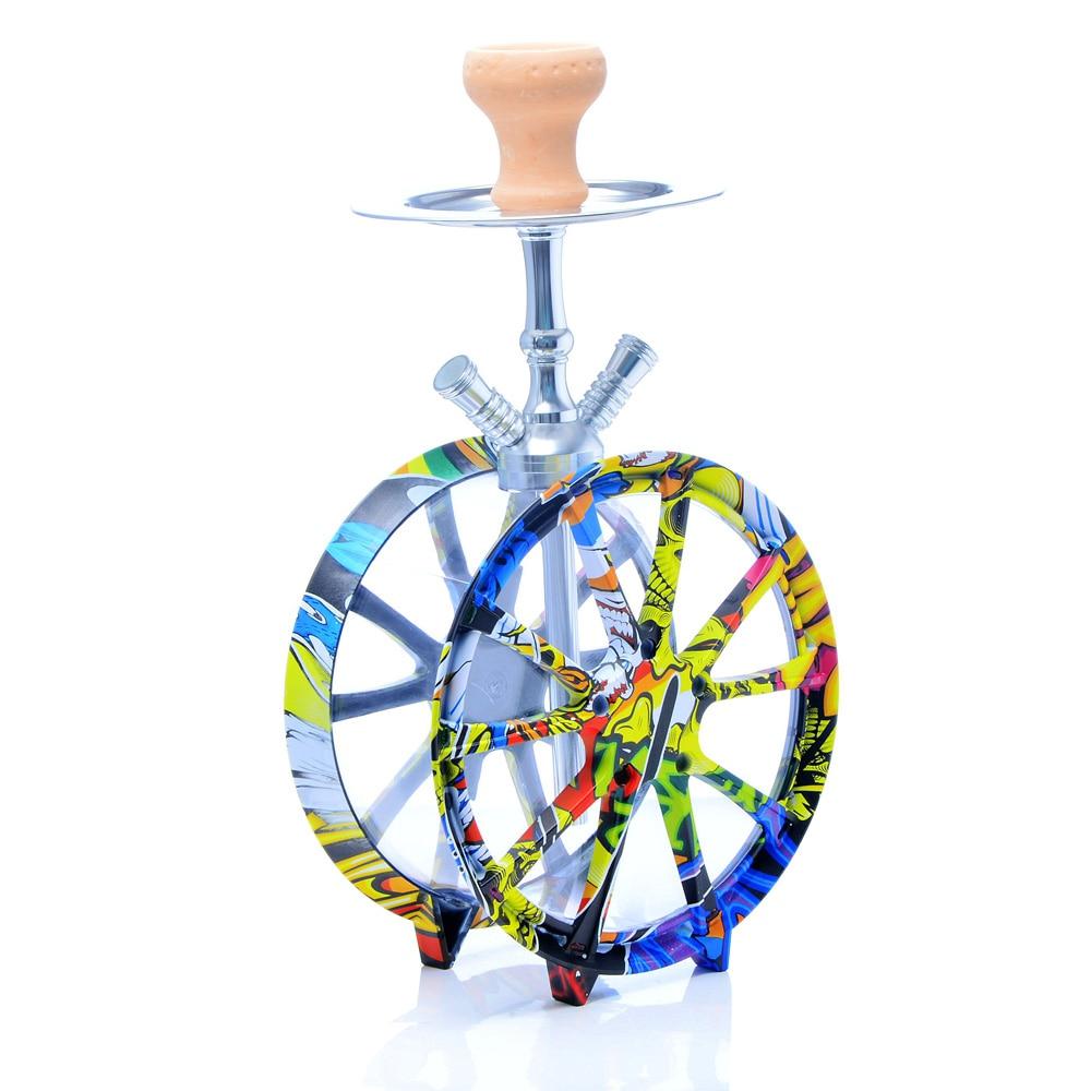 Multicolor Acrylic Hookah Shisha Set Two Hose Narguile Complete Shisha Double Hoses Led Light Sheesha Wheel Hookha  Accessories enlarge