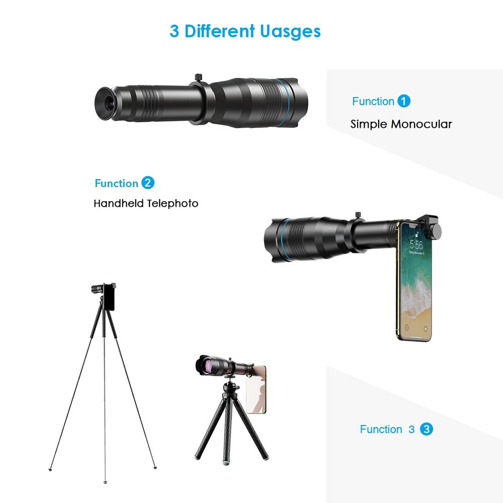 APEXEL HD 60X metal Telescope Lens Phone Camera Super Telephoto Monocular + Extendable Tripod For iPhone Huawei all smartphones