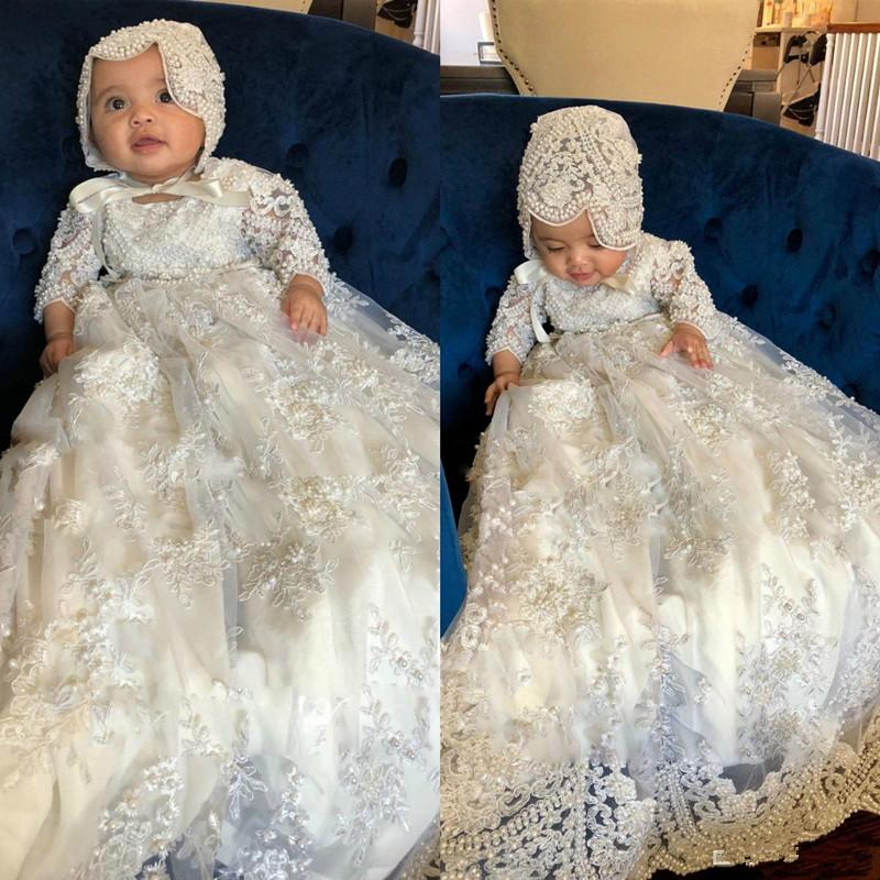 Ivory Long Sleeve Christening Gowns For Baby Girls Lace Appliqued Pearls Baptism Dresses With Bonnet First Communication Dress