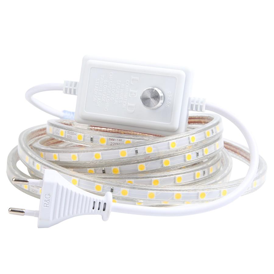 AC 220V impermeable luces de tira de LED Dimmer 5050 60LEDs/M blanco/cálido blanco 1M 2M 3M 4M 5M 6M 7M 8M 9M 10M 15M 20M 25M de la UE nos enchufe