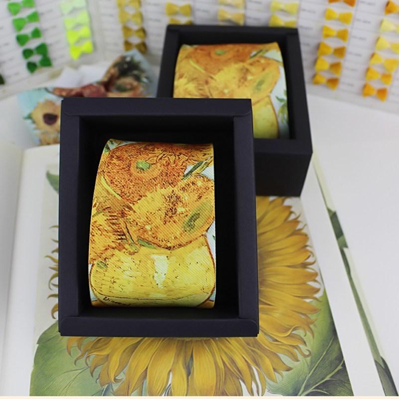 Sunflower Printed Slim  Necktie Fashion Design Tie With Gift Box Pack Men  Women Boys Girls Casual Party Tie Branded Suit Tie