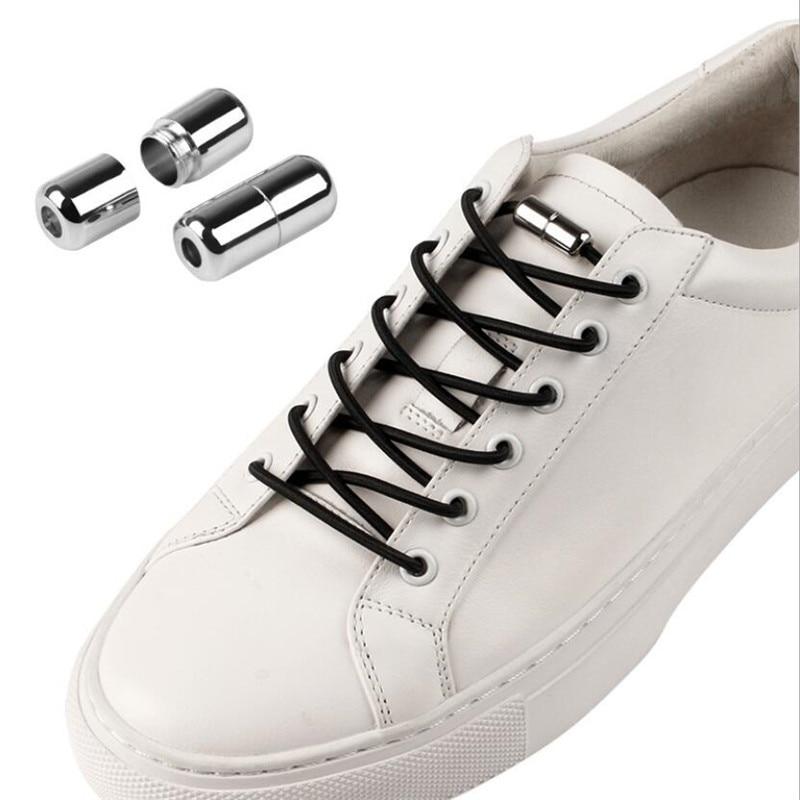 1Pair Elastic Locking Shoelaces Round No Tie Shoe Laces Kids Adult Sneakers Shoelaces Quick Lazy Sho