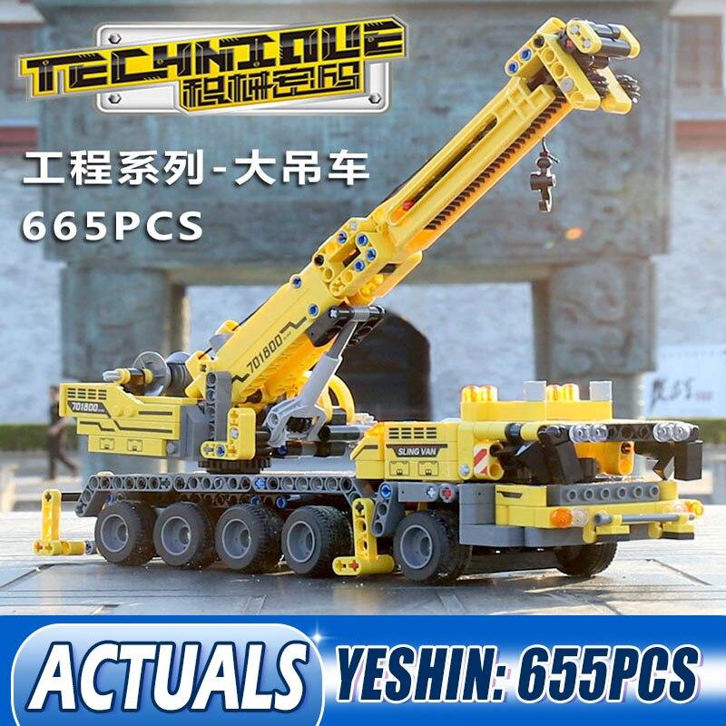 Yeshin 701800, coche mecánico, grúa móvil MK II, conjunto Compatible con 42009, bloques de construcción, Kits de ladrillos, juguetes, regalo de Navidad