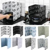 1pc aluminum foldable kitchen gas stove baffle plate kitchen frying pan oil splash protection screen kichen accessories