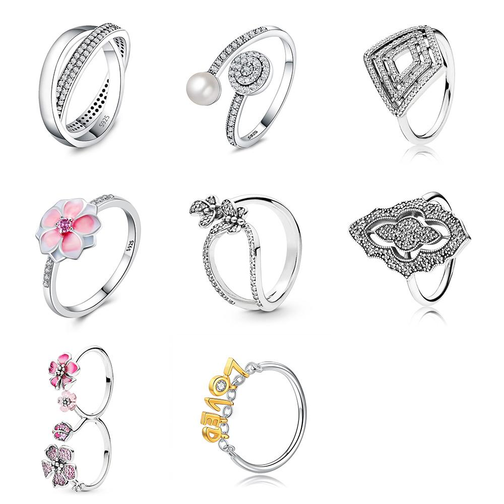 925 Sterling Silver Ring Charms Big Flower Lovely Pink Finger Ring Diy Letter Loved For Women Party Jewelry