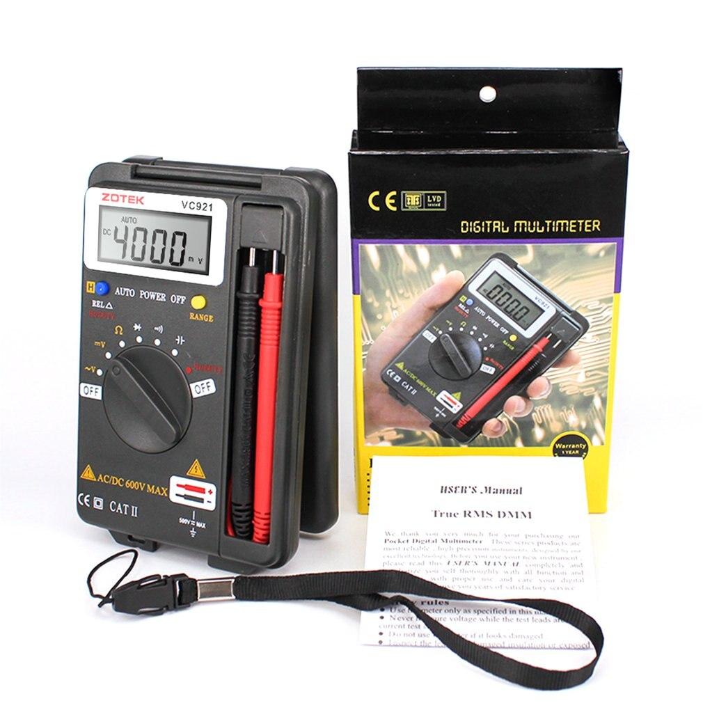 Multímetro VC921 probador de bolsillo portátil Digital Autoranging 4000 cuentas CA CC voltímetro ohmios capacitancia medidor Mini