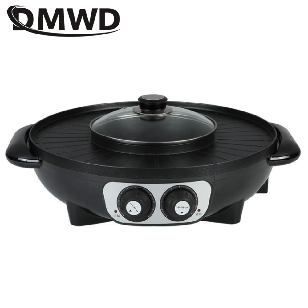 DMWD المنزلية طباخ الشبكات الكهربائية متعددة الوظائف إناء/ قدر شواية باربيكيو شواء ماكينة التحميص مقلاة خبز 1-4 أشخاص 220 فولت