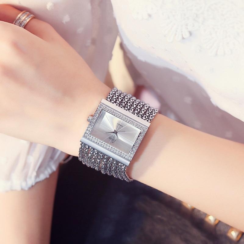 2020 new diamond ladies watch luxury brand ladies gold square watch minimalist analog quartz movement unique female iced watch enlarge