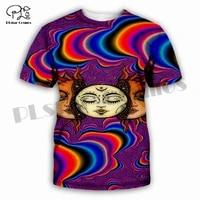 plstar cosmos 3dprint hippie funny psychedelic sun moon colorful vibe unique manwoman harajuku streetwear t shirt short sleeve