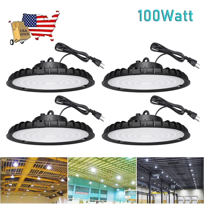 4 упаковки 100 Вт НЛО светодиодный светильник для высоких промышленных помещений освещение для гаража склада светильник для магазина светил...