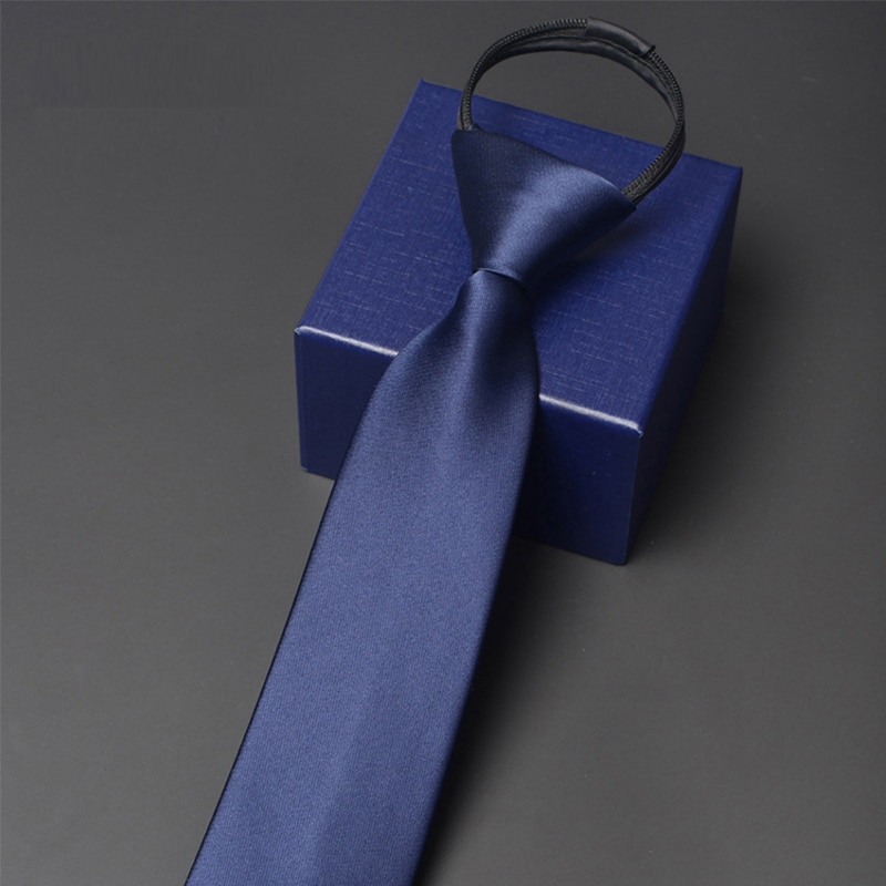 High Quality Men's 7CM Wide Zipper Tie Fashion Formal Neck Tie For Men Business Work Neckties Classical Striped Ties Gift Box
