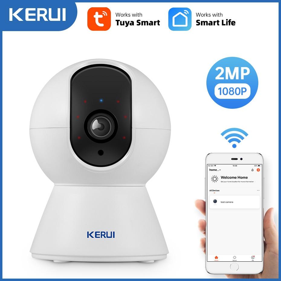 كاميرا KERUI 1080P Tuya ذكية صغيرة تعمل بالواي فاي كاميرا IP داخلية لاسلكية للأمن المنزلي CCTV كاميرا مراقبة 2MP تتبع تلقائي للرؤية الليلية