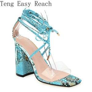 Scarpe estive da donna moda sandali gladiatore stringati tacchi alti quadrati scarpe da donna per feste 2021 misura grande 34-43