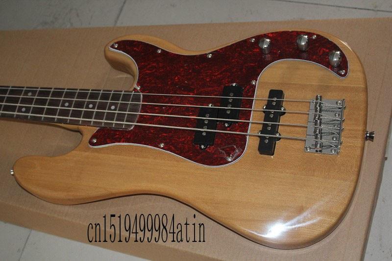 Nueva llegada guitarra personalizada palisandro F bajo guitarra Burlywood 4 cuerdas madera natural bajo guitarra eléctrica @ 18