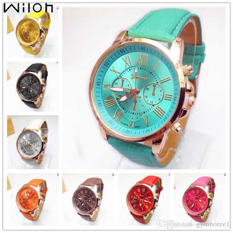 Женские кварцевые часы с кожаным ремешком, Молодежные спортивные часы с золотым ремешком, повседневные наручные часы под платье, 14 цветов