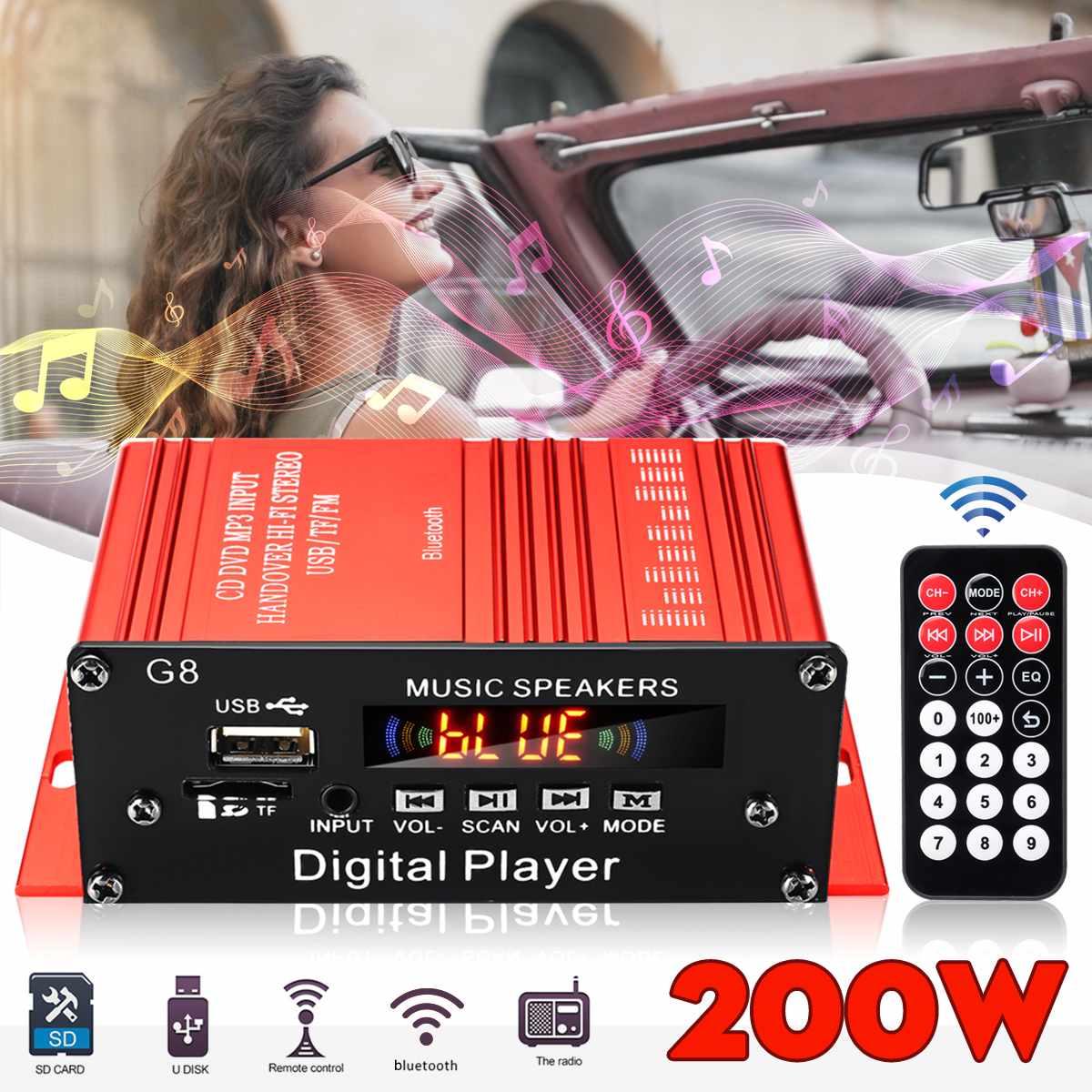 Miniamplificador de potencia de Audio HIFI para coche, 12V, 200W, 2 canales,...