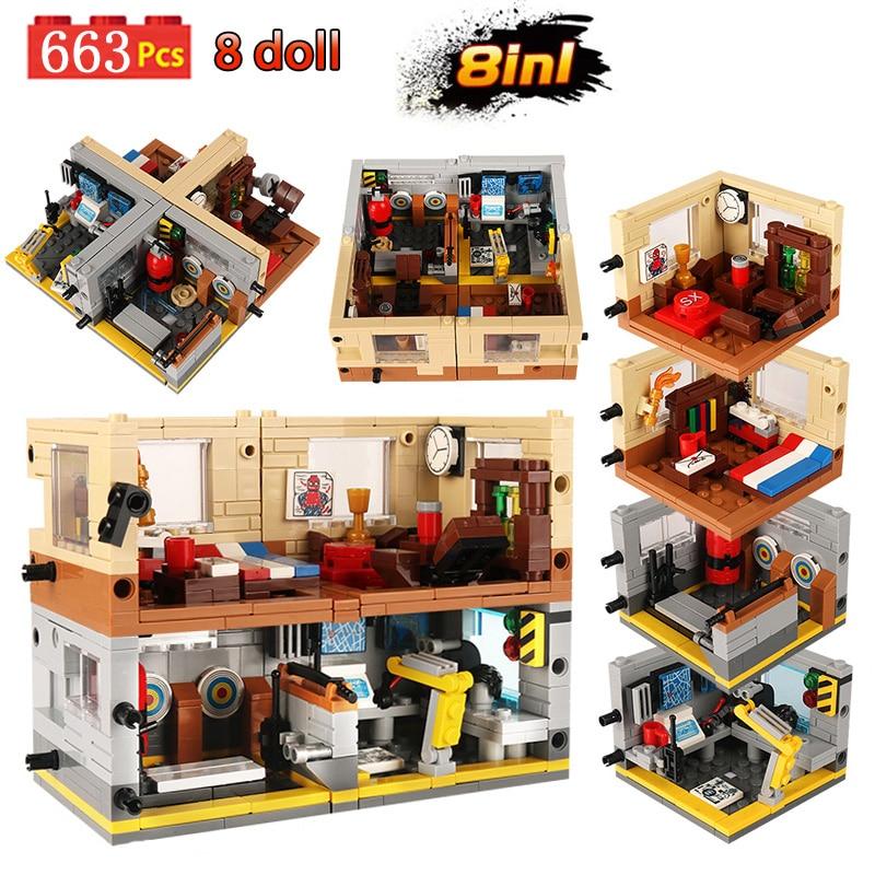 663 Uds. Modelo 8in1 de escenas Base de Marvel bloques de construcción de Los vengadores Spiderman Iron Man héroes apilando ladrillos juguetes para niños y niños