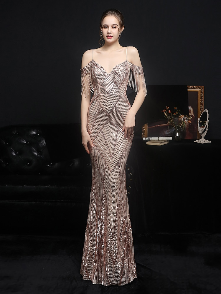 Partysix-فستان سهرة مثير ، ياقة V عميقة ، ترتر ، أحزمة سباغيتي ، ضيق ، بلا أكمام ، ماكسي ، نسائي