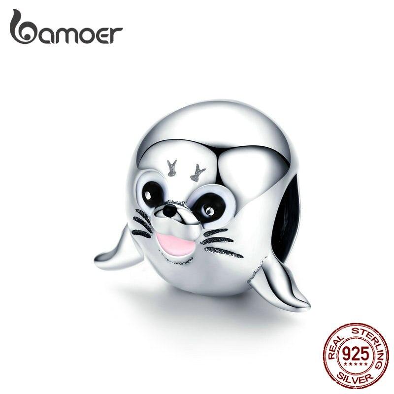 Bamoer 3D mar Animal León cuentas de Metal para las mujeres del encanto de la plata esterlina 925 fit Original pulsera brazalete accesorios SCC1253