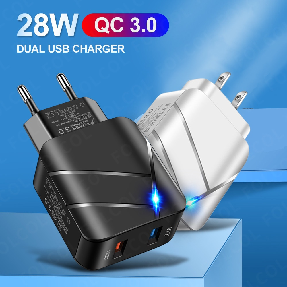 Quick Charge 3.0 USB Charger 2 Port QC3.0 Fast Charging For iPhone Samsung Xiaomi Huawei Tablet Smart Phone LED Lighting Adapter