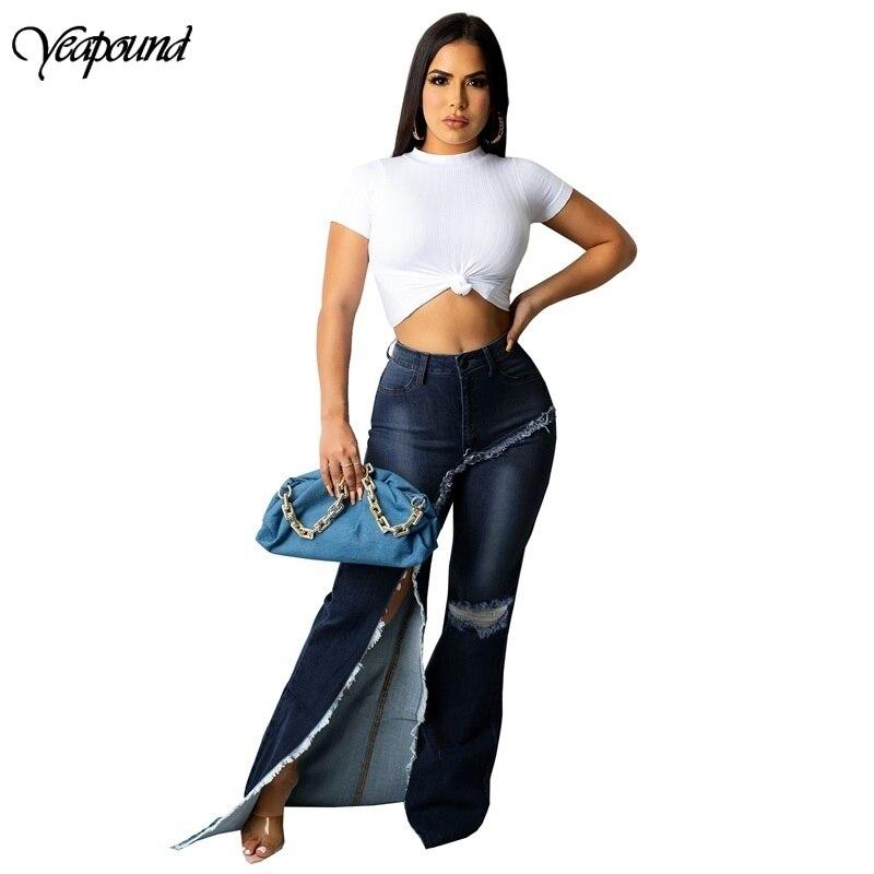 Расклешенные джинсы, женские брюки с высокой талией для женщин, джинсовые рваные брюки, женские джинсовые брюки с высоким разрезом, женская ...