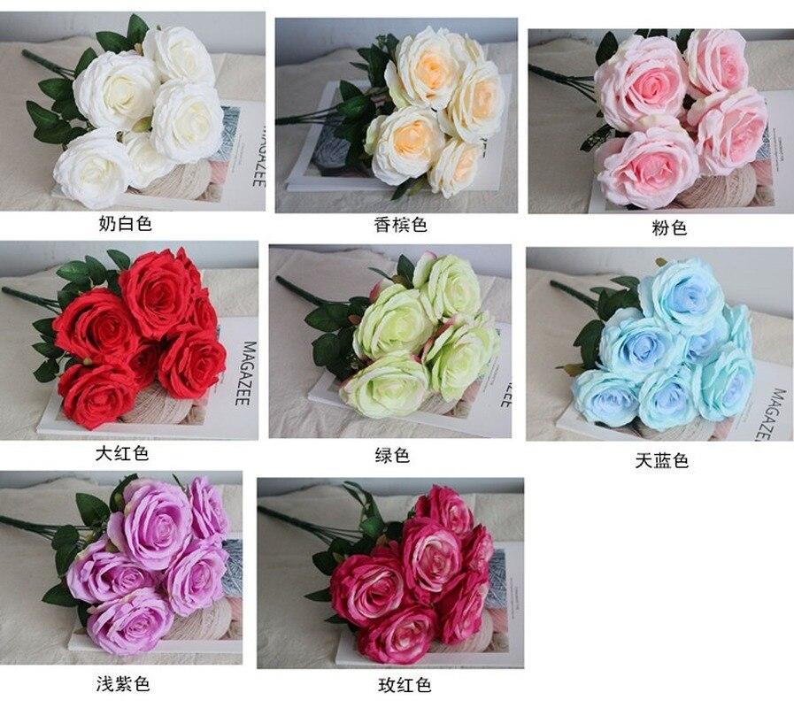 Boda Artificial Rosa 7-cabeza rizado Rosa grande boda decoración del hogar arreglo de flores