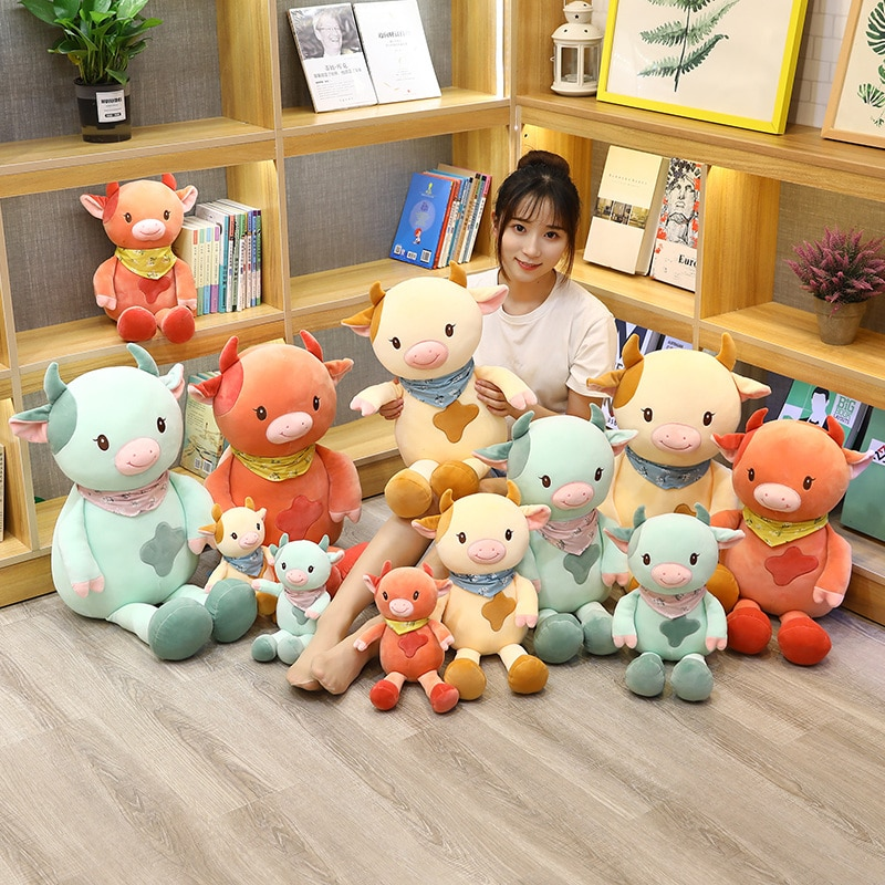 Sexy New 1PC 30CM-70CM Kawaii Animals Toys Kids Toys Milk Cow Pillow Cartoon Stuffed Cattle Plush Toys for Children Cute Gift  - buy with discount