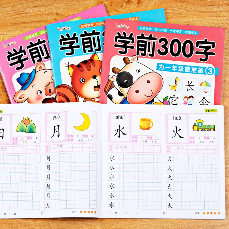 4pcs Chinese Characters Hanzi Pen Pencil Writing Books Exercise Book Learn Chinese Kids Adults Beginners Pres Preschool Workbook