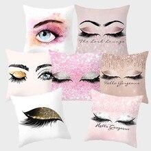 Kussenhoes 18X18inch Eye Lash Fashion Decoratieve Kussensloop Kussensloop 45X45 Cm Polyester Funda Cojin Sofa Thuis Decor 10057