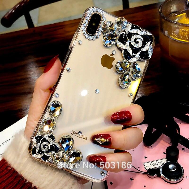 For Asus ZenFone 5 Lite 2018 5z ZS620KL Live L1 ZA550KL Max Pro M1 ZB601KL Diamond Camellia Flower case Rose Rhinestone cover