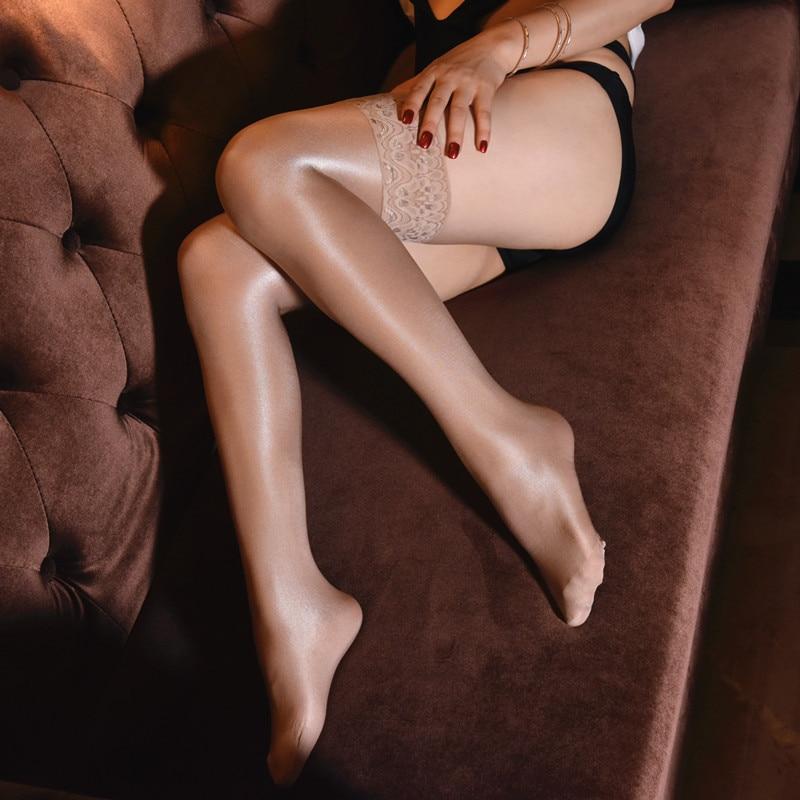 70D Sexy huile bas brillant cuisse femmes Sexy sous-vêtements Silicone antidérapant dentelle huile longue Sexy érotique bas