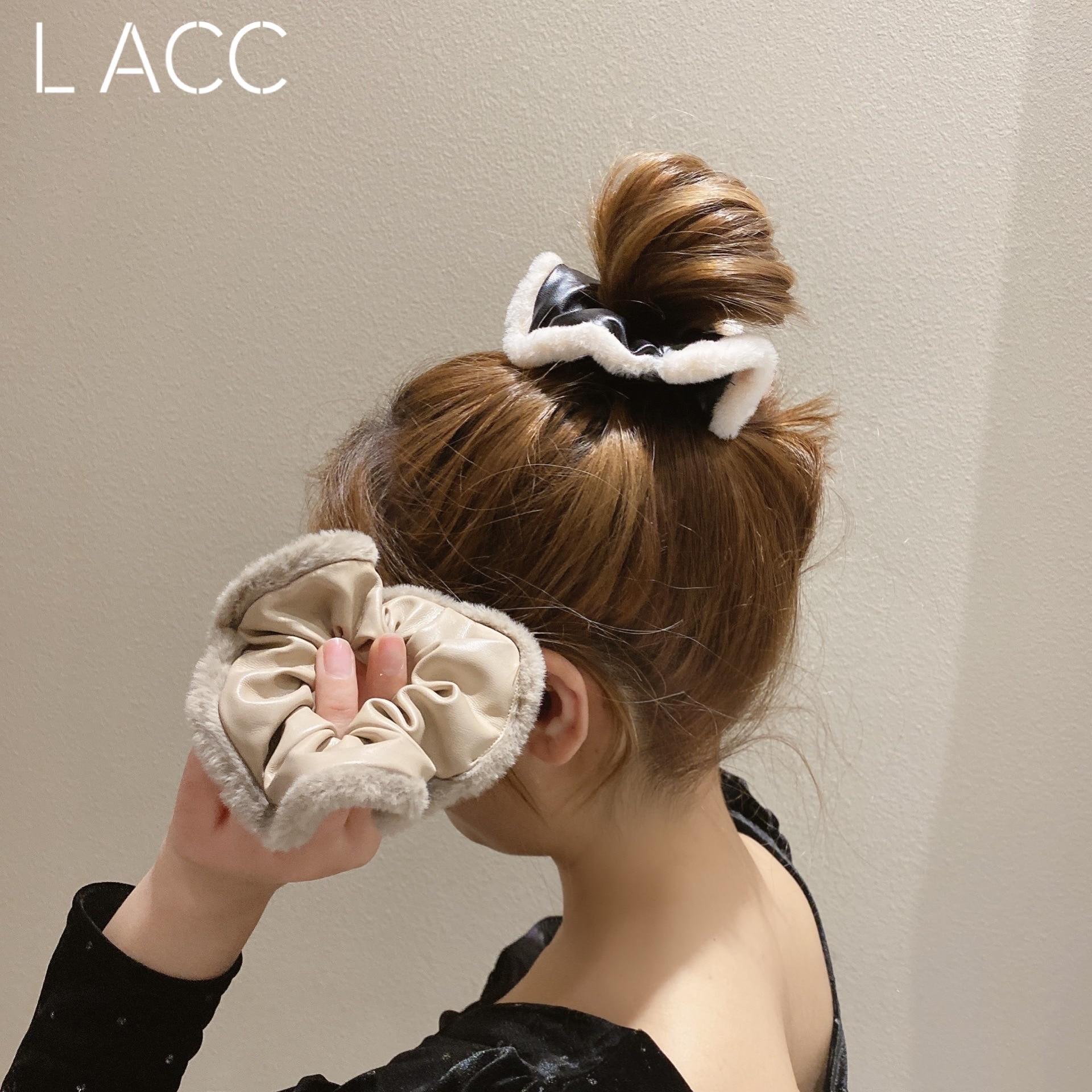 Korean Autumn and Winter Elegant Style Multi-Color Satin Texture Hair Ring Internet Celebrity Lamb W