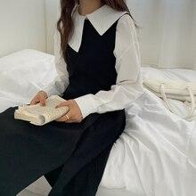 Korean Chic Non-mainstream Asymmetric Lapel Design Sweet Long Sleeve Shirt + Slimming Suspenders Dre