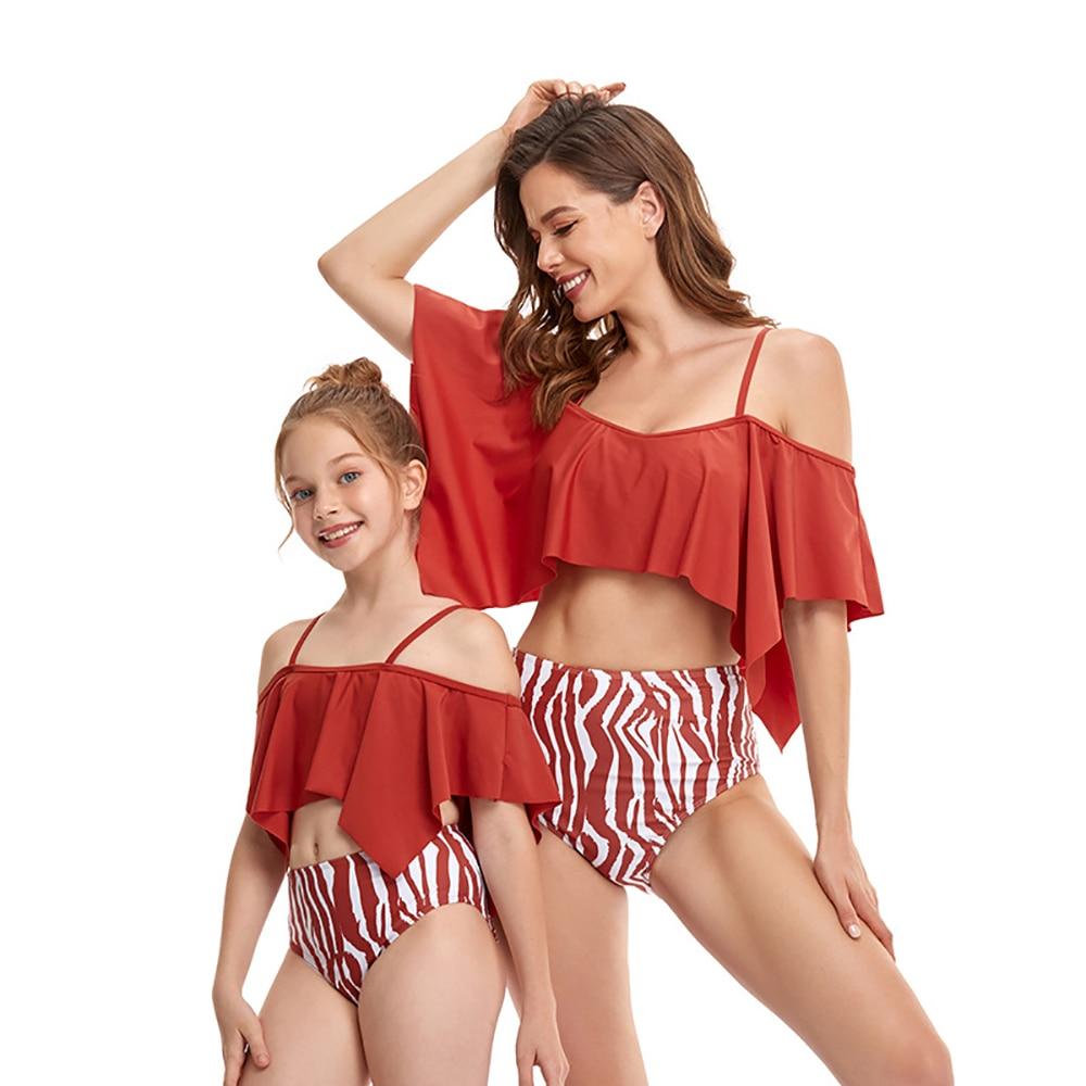 Y113 New 2021 Mother And Daughter Swimwear Parent-child Swimsuit Split Bikini High Elasticity
