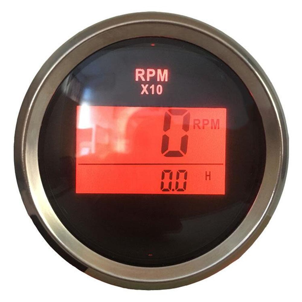 Medidores impermeáveis da revolução dos contadores de velocidade pretos de 52mm dos tacômetros de digitas de 0-9900rpm com luz de fundo vermelha e ampulheta 9-32v