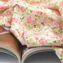 Half yard import plain cotton fabric with garden flower print handmade DIY garment dress baby cloth