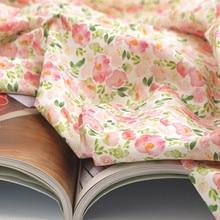 Half yard import plain cotton fabric with garden flower print handmade DIY garment dress baby cloth