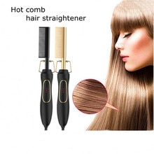 New 2 in 1 Hot Comb & Hair Straightener Wet and Dry Electric Hair Straightening and Curling comb Hou