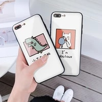 iphone case apple phone case tempered glass dinosaur and cat cartoon simple pattern phone case for iphone12promax xxr 66sp 78se